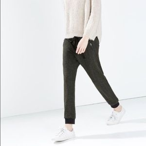 Zara Herringbone Ankle Zip Joggers 🧡